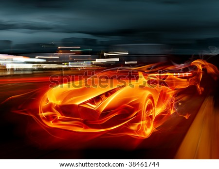 Fire car - Series of fiery illustrations