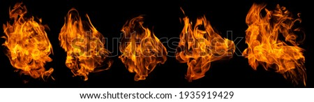 Fire collection set of flame burning isolated on dark background for graphic design purpose Foto stock ©