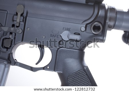 Fire controls and lower receiver on a semi automatic AR15