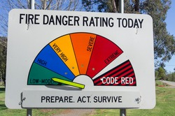 Fire danger rating sign, indicating the fire risk posed by hot and windy summer conditions in Australia.  This sign is outside Marysville in Victoria.
