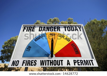 Fire Danger Sign in Australia showing the danger of the day