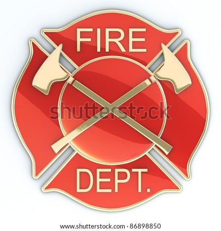 Fire department Maltese cross badge or symbol with axes, red with gold inlay with reflection. 3d image