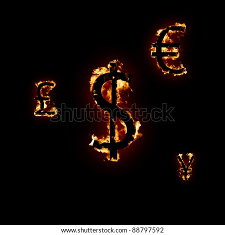 Fire dollar euro pound yen