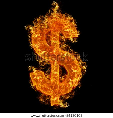 Fire dollar sign on a black background
