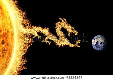 Fire dragon from the Sun heading towards Earth, described the solar storm and solar effect. Can be use for background and prints out.