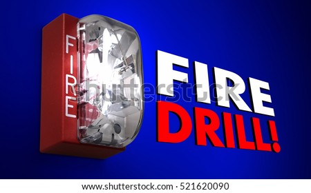 Fire Drill Alarm Words Practice Emergency Exercise 3d Illustration