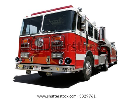 Fire Engine isolated on white background - stock photo