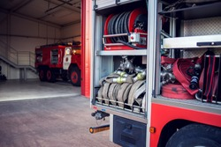 Fire engine with equipment stay in the fire department and ready for challenge