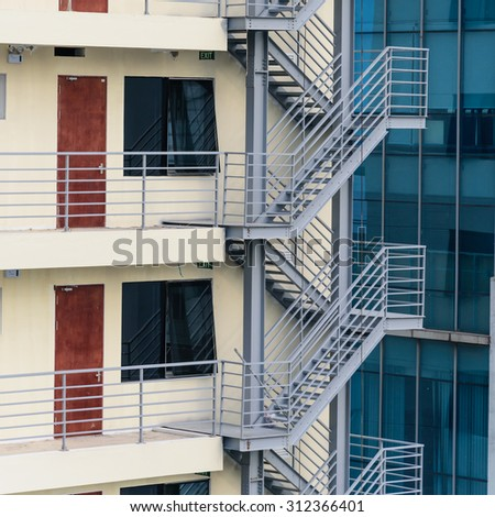 Fire escape, emergency fire stair on metal staircase of a new building in Hanoi, Vietnam