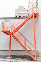 Fire escape ladder on modern industrial building
