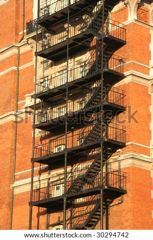 Fire escape on an old apartment building in the afternoon sun