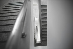 Fire escape stairs in modren building,Fire exit in high-rise buildings. stair,Fire escape stairs in high building