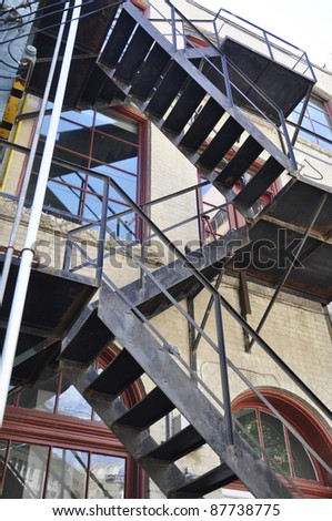 fire escape stairs on old apartment building