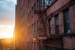 Fire Escape stairs on the building wall in New York City