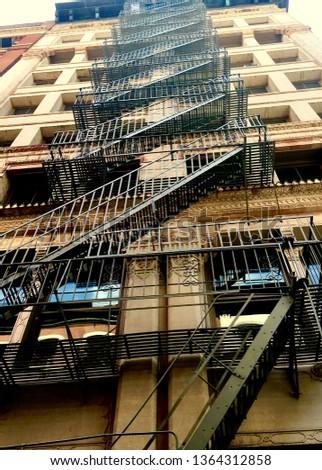 Fire escape zigzagging upward   #1364312858