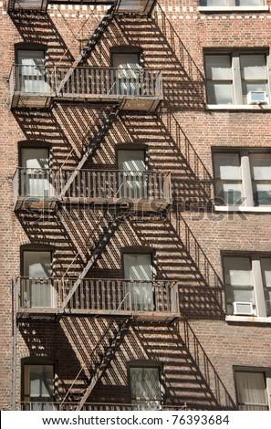 Fire escapes in New York Stock foto ©