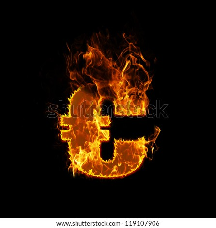 Fire euro sign on a black background, eurocrisis