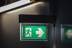 Fire Exit Sign with Light on the Door