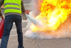 fire extinguisher exercise with a controlled burn