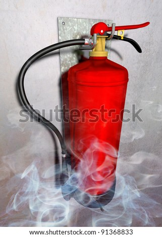 Fire extinguisher Illustration of a fire extinguisher in rising smoke fitted at a gray wall