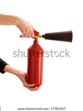 fire extinguisher  in the hands on white background