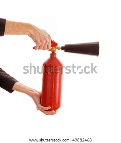 Fire extinguisher isolated over white