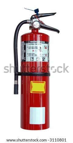 Fire extinguisher with labels isolated over a white background