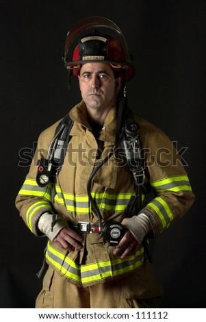 Fire figher with dark background