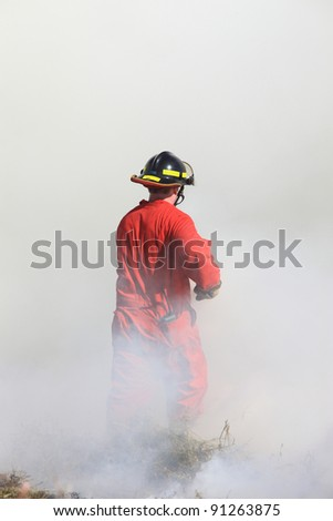 Fire Fighter Grass Fire Saskatchewan Canada