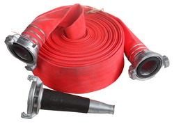 Fire Fighter Industry, Red Fire hose winder roll  reels, fire fighting hose are used for high pressure water spraying, with aluminum nozzle and connecting coupler, isolated object on white background.