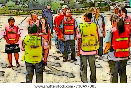 fire fighter,security guard training basic fire fighting step,move and help casualty with people,industrial employees,factory workers,sketch drawings,oil pastel,watercolor brush painting illustration