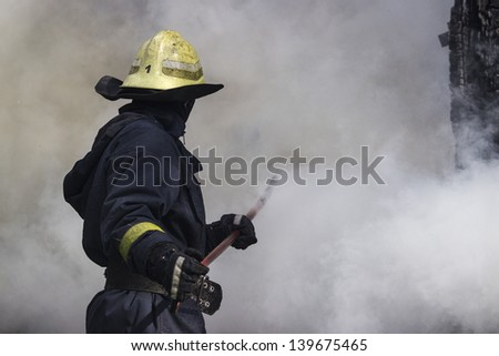 Fire-fighters in action