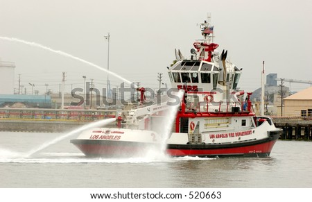 Fire Fighting Boat sprays jets of water