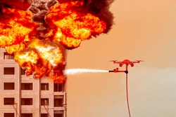 Fire fighting drone flying for extinguish a fire on the of a residential highrise building. in the sky