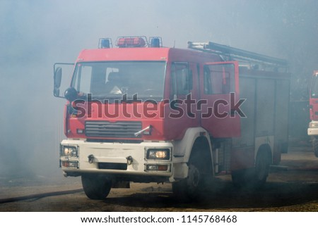 fire fighting vehicle in fire fighting