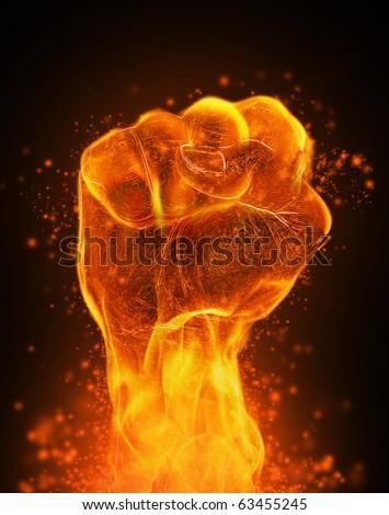 Fire fist - stock photo
