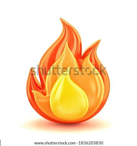 Fire flame isolated on white. 3D rendering with clipping path