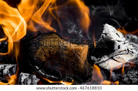 fire flames, burning campfire closeup #467618810
