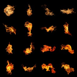 Fire flames collection.