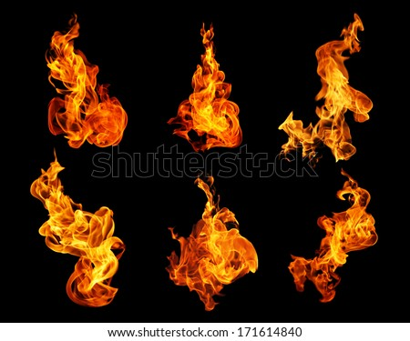 Fire flames collection isolated on black background #171614840