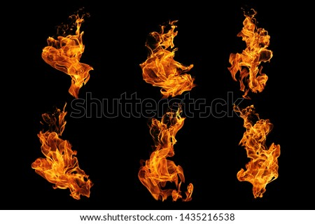 Fire flames collection isolated on black background, movement of fire flames abstract background #1435216538