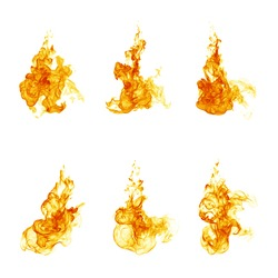 Fire flames collection on white background
