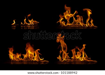 Fire flames isolated on a black background collection