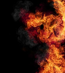 Fire flames, isolated on black background