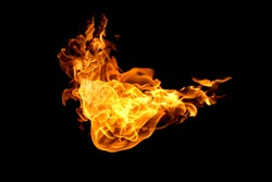 Fire flames on a black background abstract