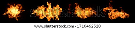 Photo of  Fire flames on a black background abstract.
