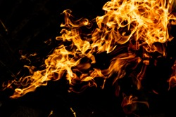 Fire flames on a black background, abstraction, wallpapers for your mania