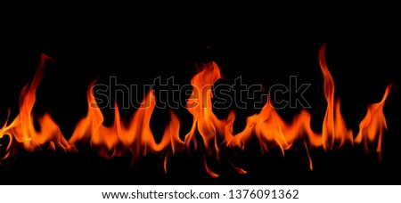 Fire flames on Abstract art black background, Burning red hot sparks rise, Fiery orange glowing flying particles #1376091362