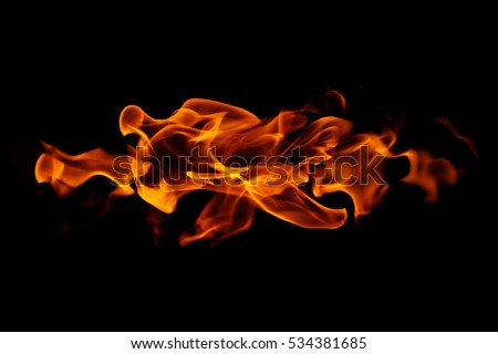 Fire flames on black background Foto d'archivio ©
