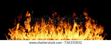 Photo of  Fire flames on black background.